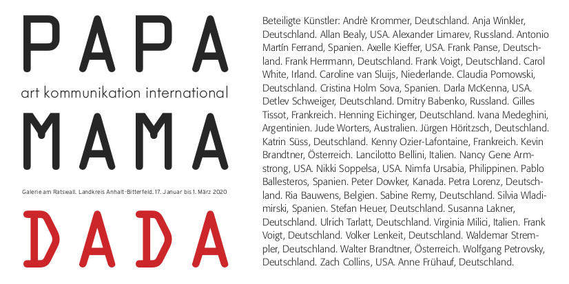invitation for PAPA MAMA DADA Exhibition in Bitterfeld Germany, Gallery am Ratswall